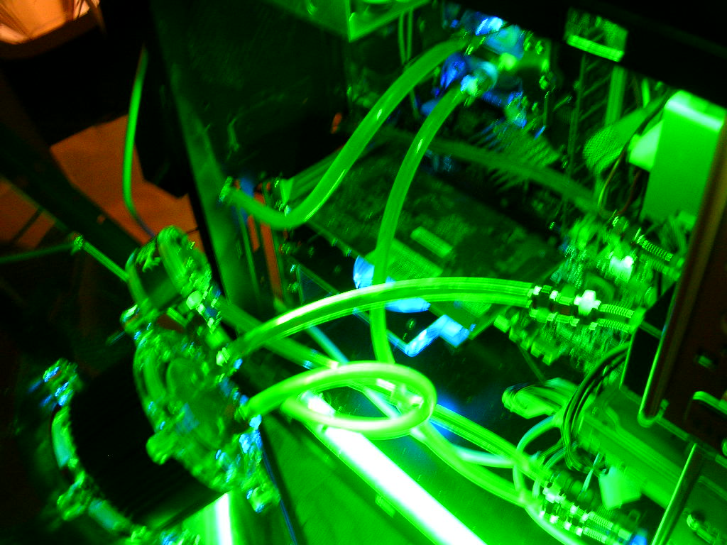 Inside with green cathodes on