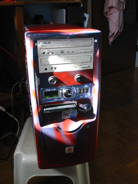 custom paint job, LED lights illuminate the CD and DVD drives, they are installed in holes drilled in the plastic moulding around the top of the case.