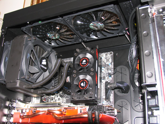 Close up of PSU, GPU & GPU support