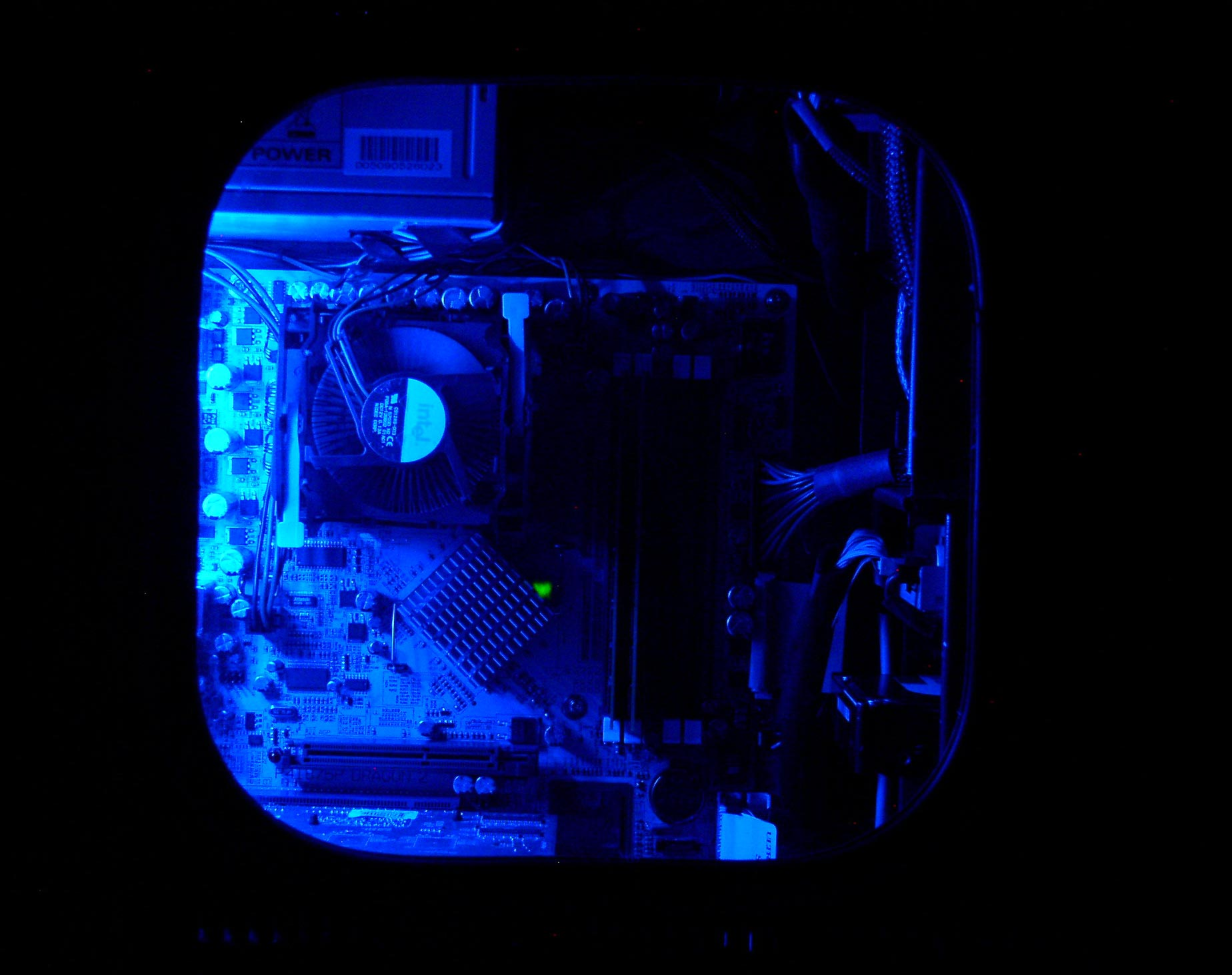 Blue light on with side panel