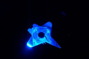 Top blow hole. Centurion fighter silhouette with blue led fan.