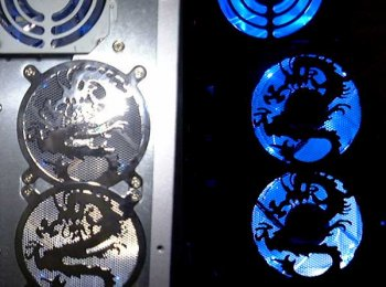 New dragon laser cut fan grills added to rear of case, lights on / off