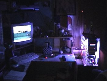 workstation in the dark