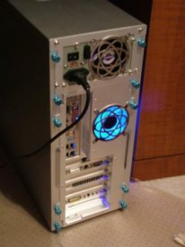 Back Panel. (Better quality picture coming!) Aluminum fan guards. Thumb screws. Power supply mods on the way.