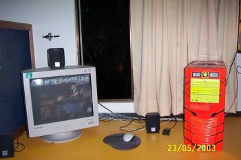 my lovely game station...notice the temp...it was night and it was hot...