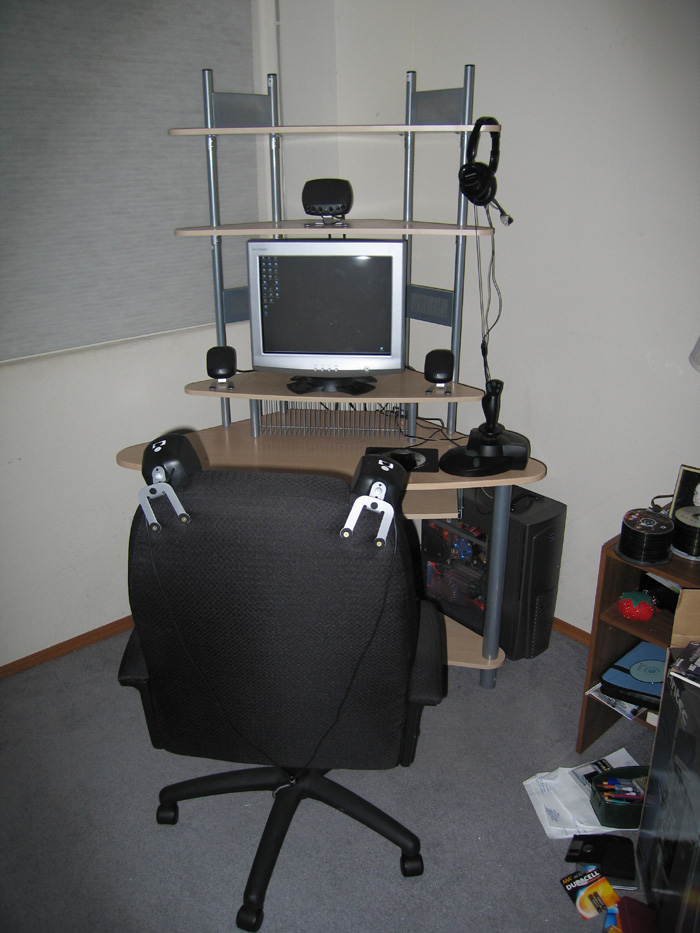 the workstation. note the speakers mounted on the chair--OWNAGE!