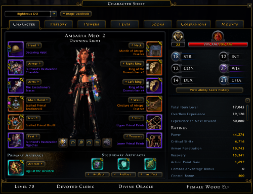 Ambarta Meoi's Divine Oracle Devoted Cleric Build
