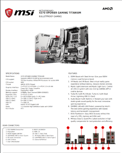 MSI X370 XPower Gaming Titanium: Specifications & Features